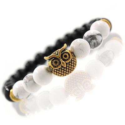 Silver & Gold Owl Head Bracelet White GOLD
