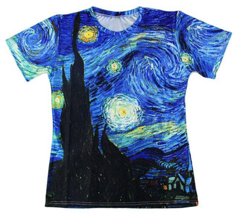 Van Gogh Starry Night T-Shirt Blue / M