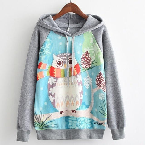 Women's Fashion Hooded Sweatshirt Owl in Scarf Print Gray Hoodie Gray / Large