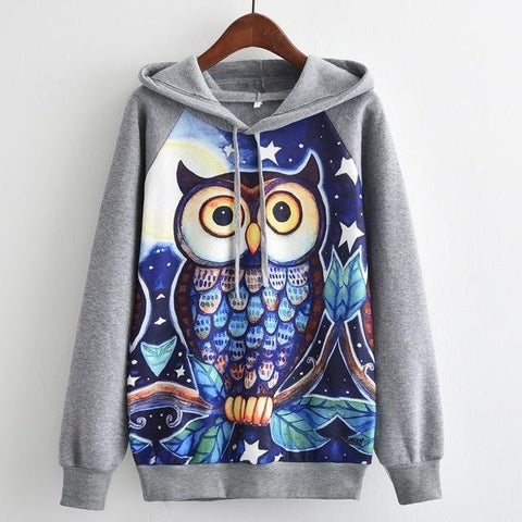 Women's Fashion Hooded Sweatshirt Owl Print Gray Hoodie Gray / Large