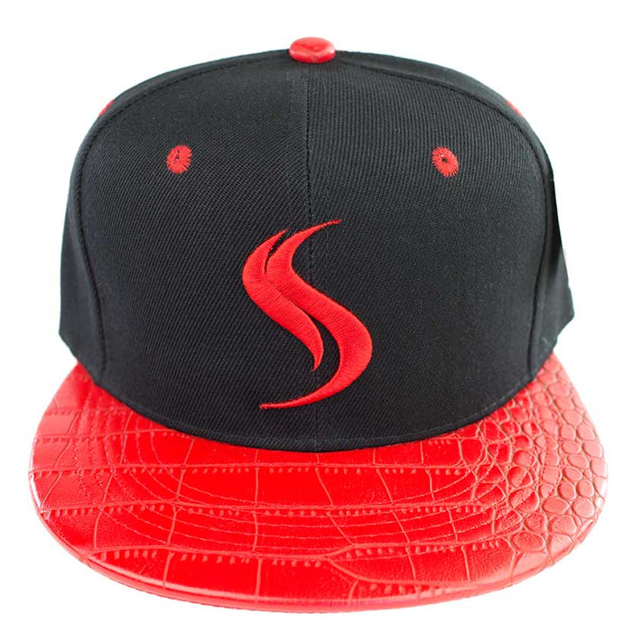 Shatterizer Black Hat with Red Accents, Red Faux Crocodile Bill