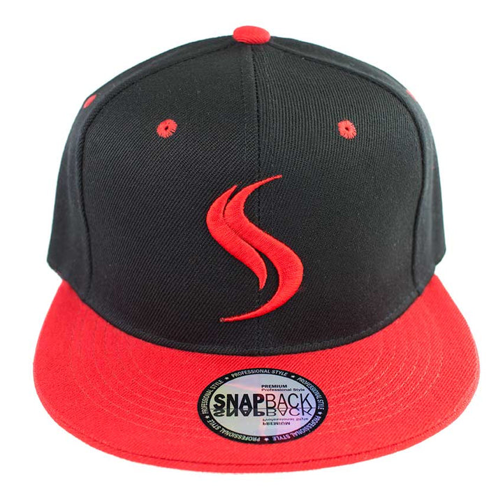 Shatterizer Black Hat with Red Accents, Solid Red Bill
