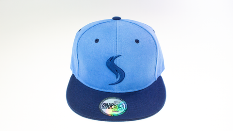 Shatterizer Baby Blue Hat with Navy Blue Accents, Solid Navy Blue Bill