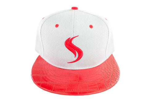 Shatterizer White Hat with Red Accents, Red Faux Crocodile Bill