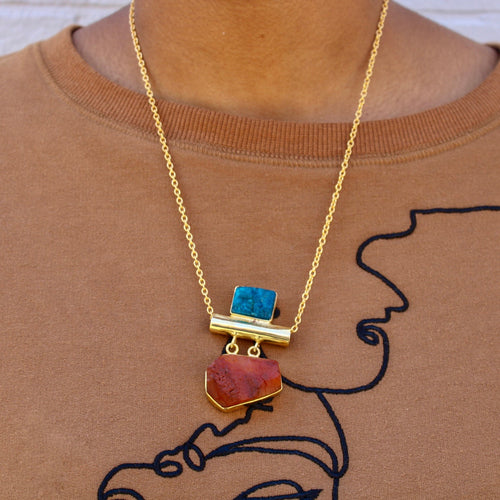 Carnelian + Blue Apatite Necklace