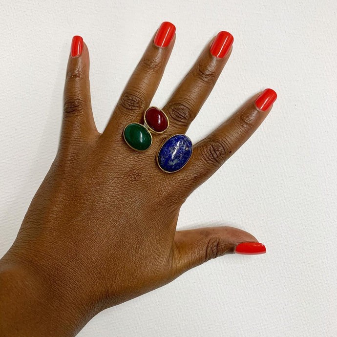 Red Onyx, Green Onyx + Lapis Lazuli Ring, Adjustable