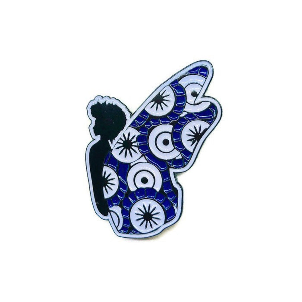 Blue + White Black Butterfly Pin