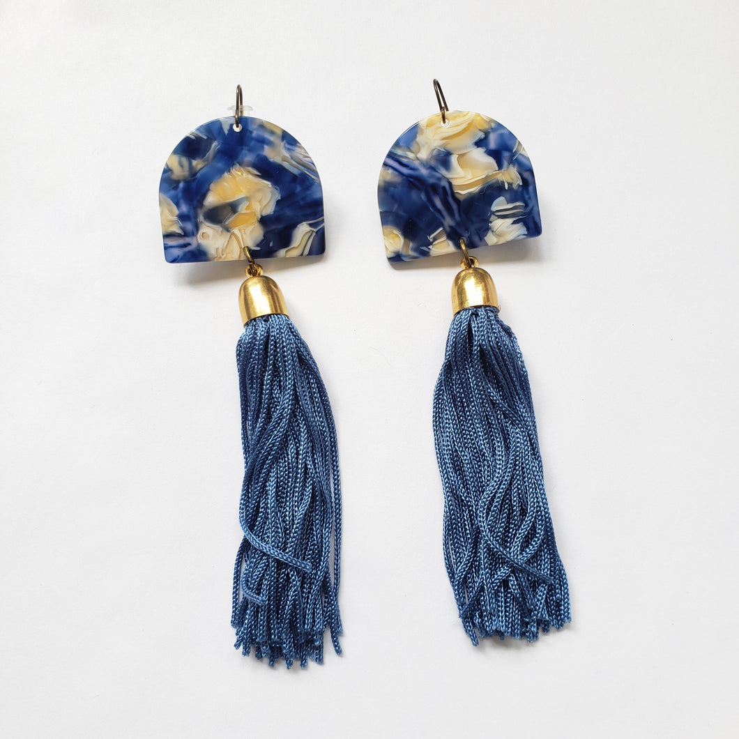 Marbled Navy Resin + Indigo Tassel Earrings