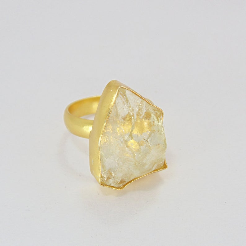 Raw Citrine Ring, Sz. 8