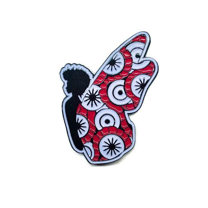 Red + White Black Butterfly Pin