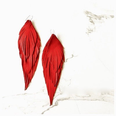 Angpetu Leather Earrings - Lipstick