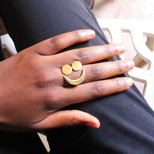 Moon Cycle Brass Ring - Sz 6