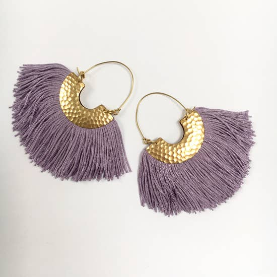 Fringe Fan Earrings - Lavender