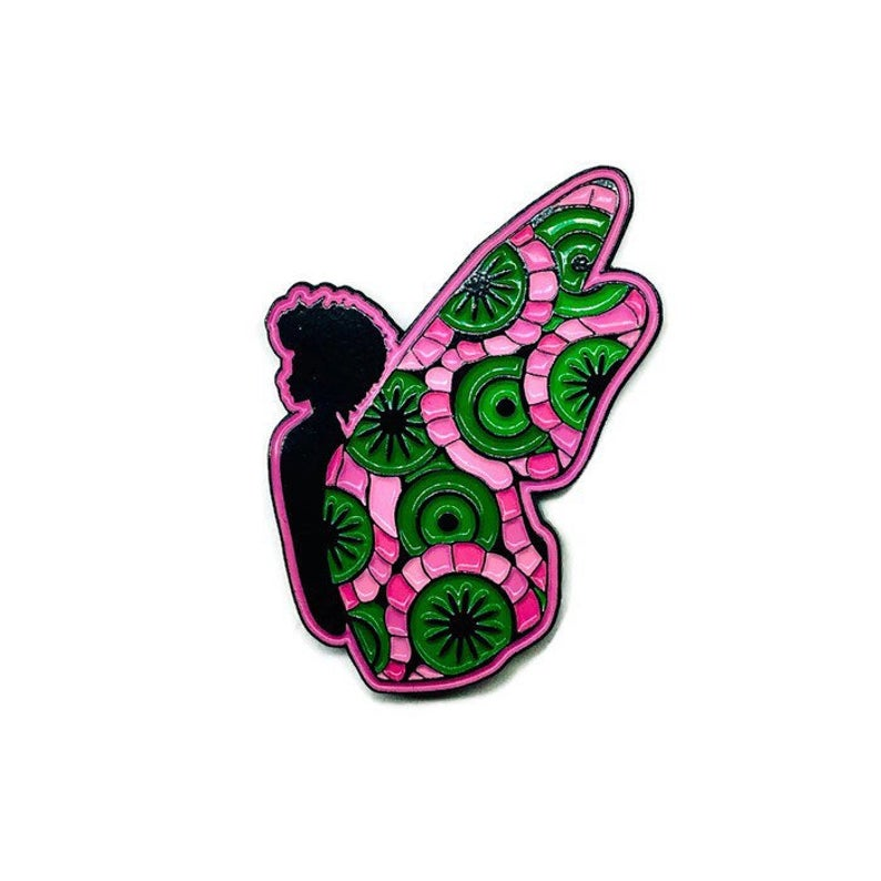 Pink + Green Black Butterfly Pin
