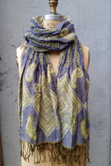Woven fringed scarf periwinkle