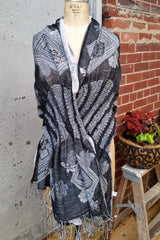 Woven Fringed Scarf/Wrap