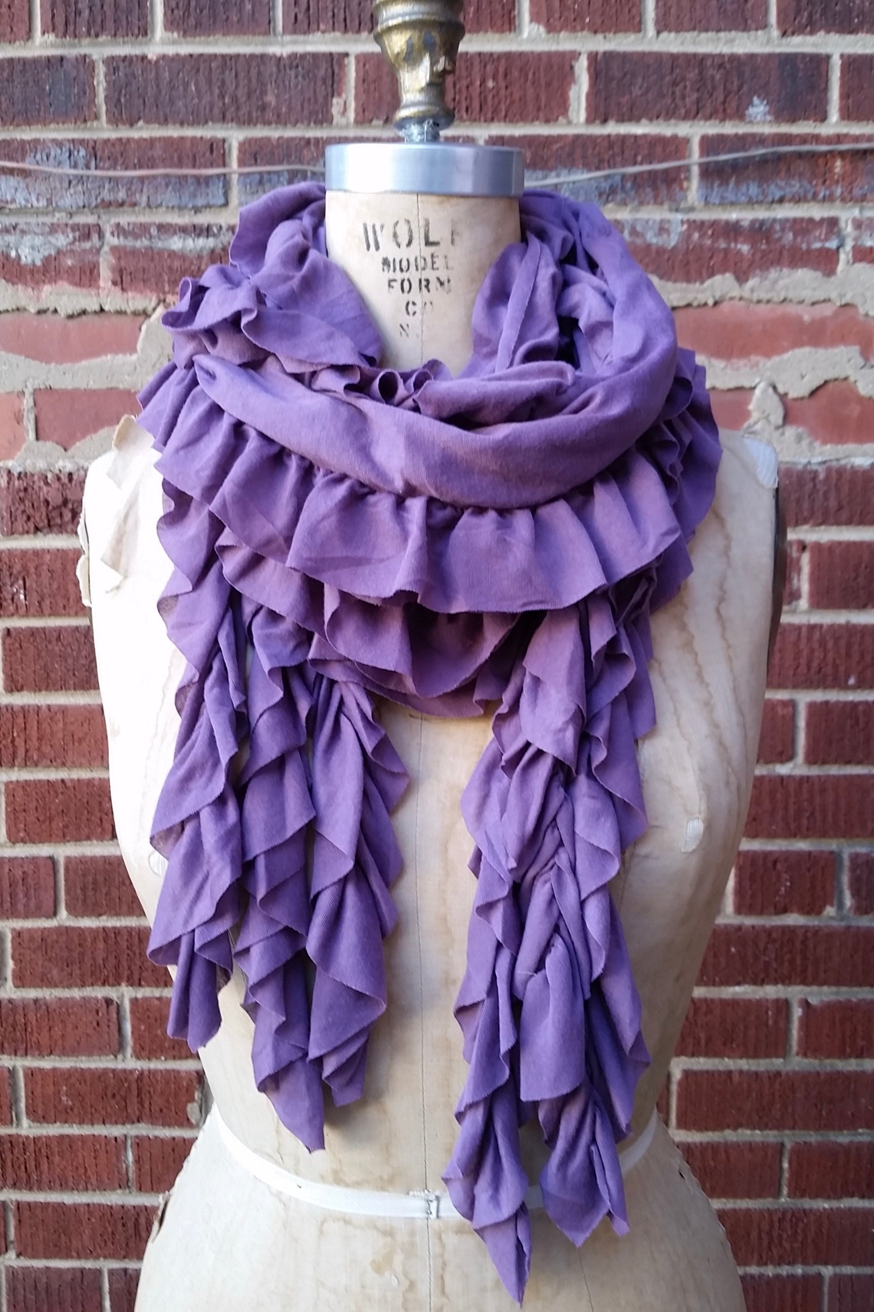 Ruffled Jersey Knit Scarf