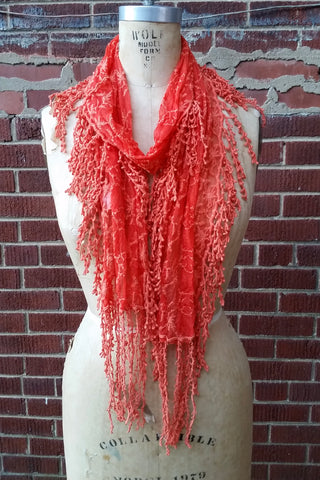 Vines Lace Scarf with Fringe