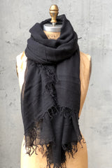 Chan Luu Cashmere and Silk Scarf Black Fringed