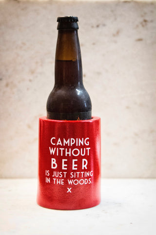 "Retro Can Koozie - ""Camping Without Beer"""
