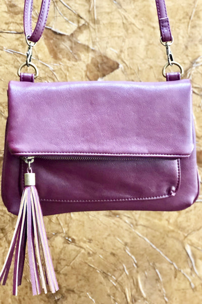 Tasseled Crossbody Purse-Burgundy