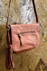 Messenger Purse With Tassels Saddle Brown Synthetic Leather