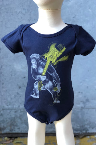 Graphic Print Onesie-Rockin' Monkey with Guitar