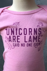 Graphic Print Onesie-Pink Unicorns