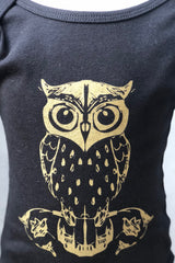 Graphic Print Onesie-Black Owl