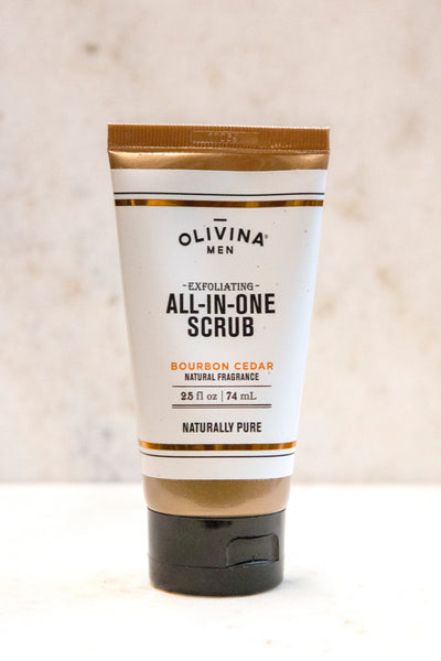 Olivina Men Exfoliating All-in-One Scrub Bourbon Cedar-Travel Size