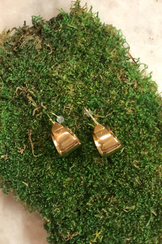 Brass Thick Dangle Hoop Earrings