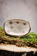 Ceramic knob reactive glaze white with gold dots.