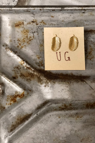Gold Palm Leaf Studs
