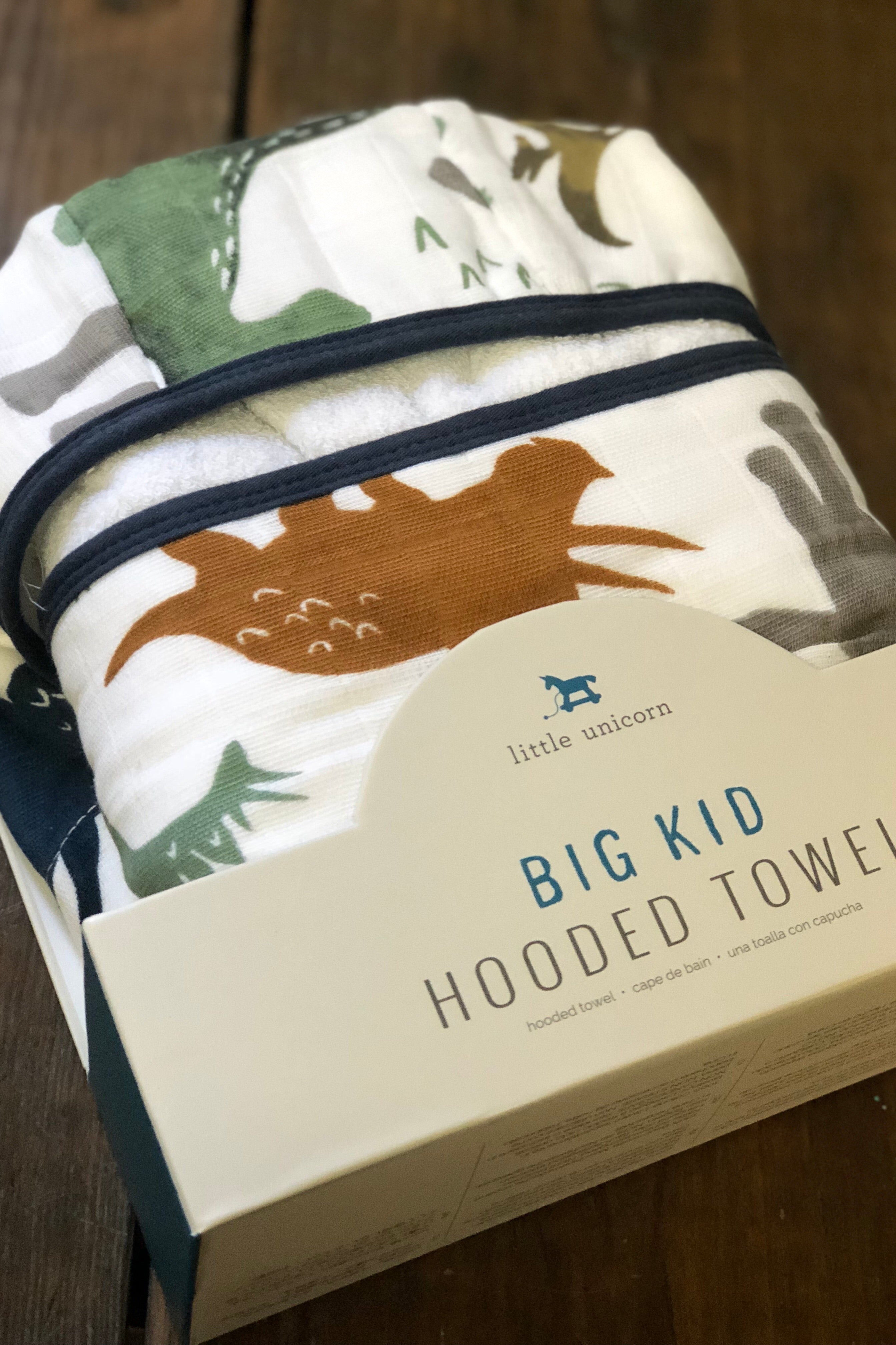 Big Kid Hooded Towel-Dino Friends