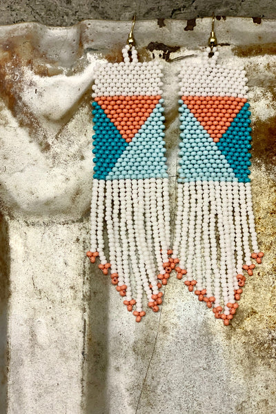 Geo Pattern Seed Bead Earrings