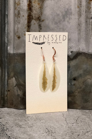 Snow on the Mountain Pressed Leaf Earrings