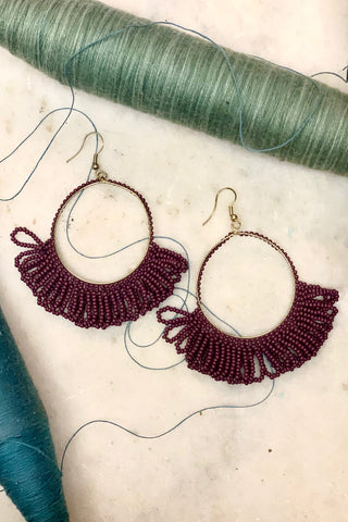 Fringe Hoop Seed Bead Earrings