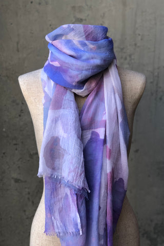 Purple Floral Watercolor Scarf