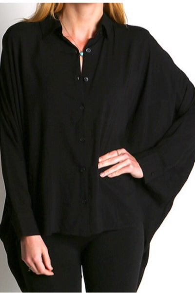 Oversized button up loose shirt-black