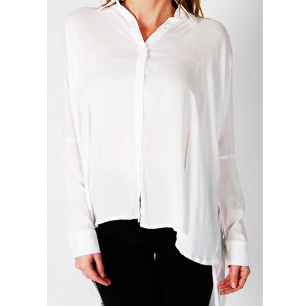 Oversized button up loose shirt-white