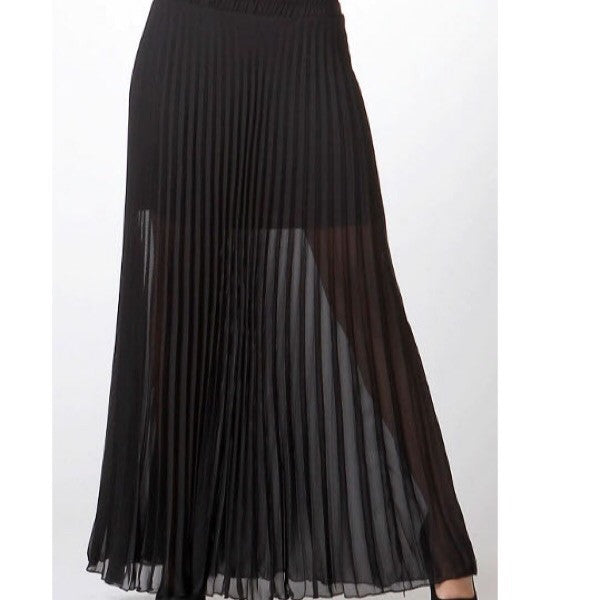 Chiffon Pleated Maxi Skirt in Black