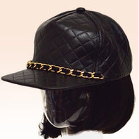 Quilted Chain Cap in Black