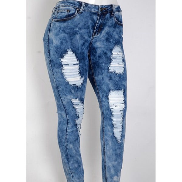 Acid Wash Distressed Jeans in Plus Size