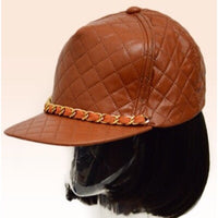 Quilted Chain Cap adjustable in Cognac