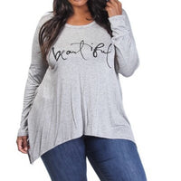 Plus Size t shirt-long sleeve