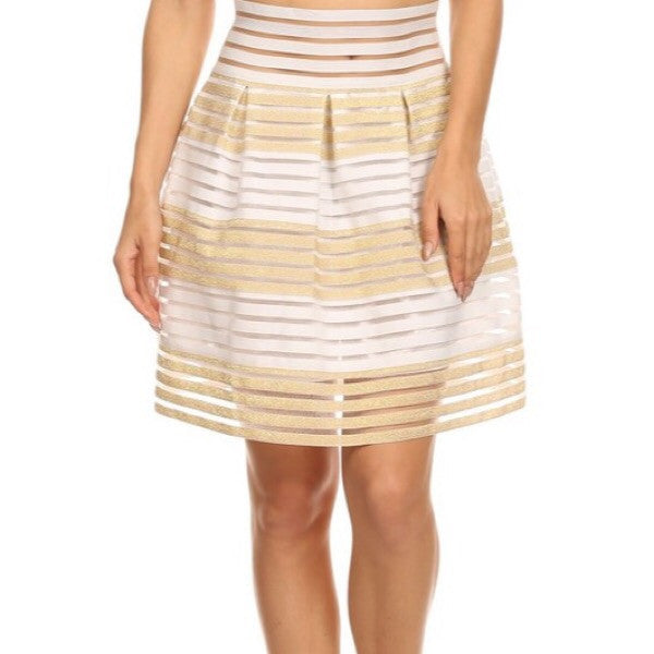 Stripe Mesh Skirt - ShopFAH Boutique