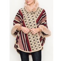 Printed Fur Trim Poncho