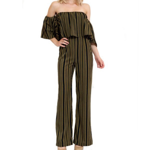 stripe off the shoulder jumpsuit