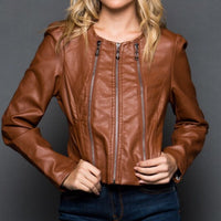 Faux Leather Jacket With Zippers