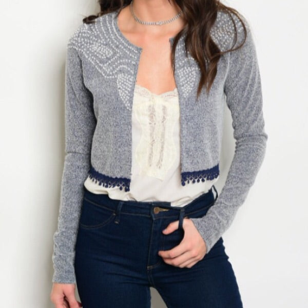 Pearl Detail Cropped Cardigan - ShopFAH Boutique
